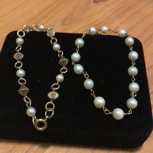 vintage Pearl & gold bracelet lot of 2